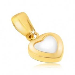 Zlatý prívesok 585 - dvojfarebné pravidelné srdce, lesklý zaoblený povrch
