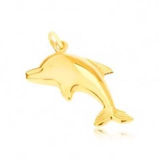 Zlatý prívesok 585 - zrkadlovolesklý skákajúci delfín, priestorový
