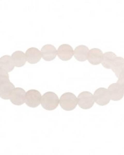 Náramok na ruku so sklenenými guľôčkami, biela matná farba, gumička