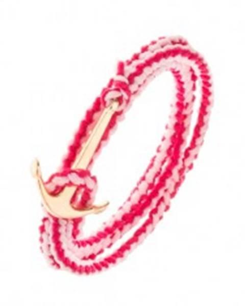 Pletený náramok na obtočenie okolo ruky, ružová farba, lesklá lodná kotva