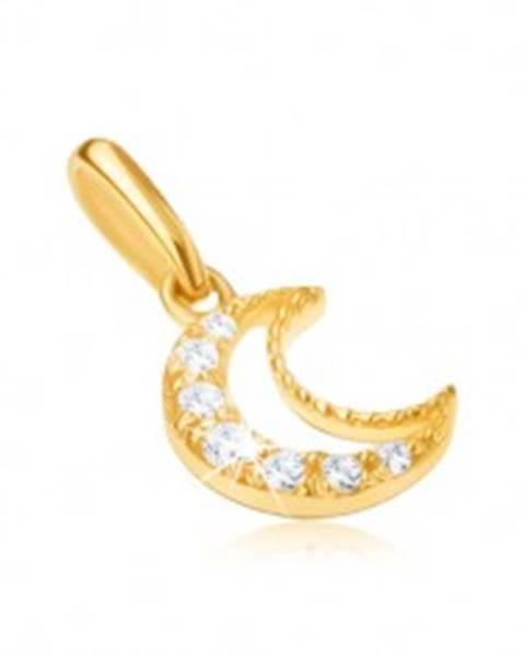 Prívesok zo žltého 9K zlata - obrys kosáčika mesiaca, číre kamienky