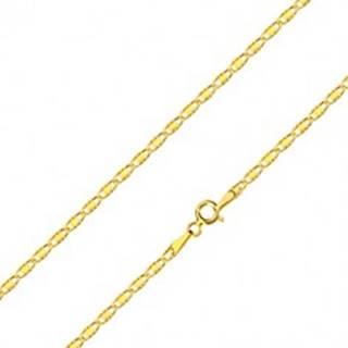 Retiazka zo žltého zlata 585 - oválne očká so zárezmi a hladkým obdĺžnikom, 450 mm