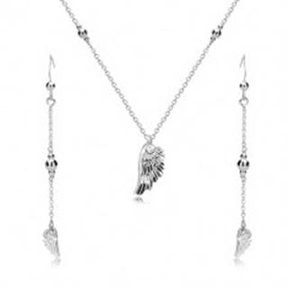 Strieborný set 925 - náušnice a náhrdelník, anjelské krídlo a lesklé guličky