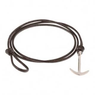 Hnedý šnúrkový náramok na trojité obtočenie okolo zápästia, lesklá kotva