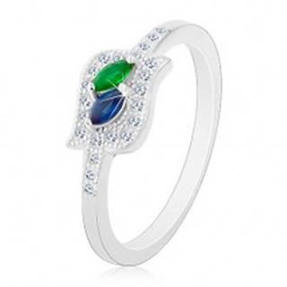 Strieborný prsteň 925, modré a zelené zirkónové zrnko v čírej kontúre, ródiovaný - Veľkosť: 48 mm