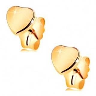 Zlaté puzetové náušnice 585 - lesklé, hladké a súmerné srdiečko