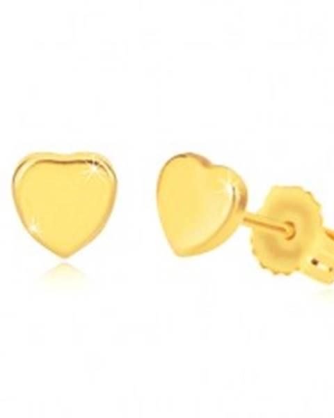 Náušnice zo žltého 14K zlata - lesklé symetrické srdiečko, puzetky