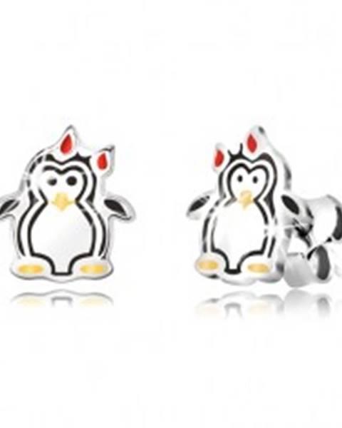Strieborné náušnice 925 - lesklý tučniak s mašličkou, trojfarebná glazúra R10.09