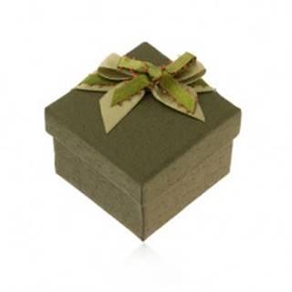 Tmavozelená krabička na prsteň alebo náušnice, zelená mašlička