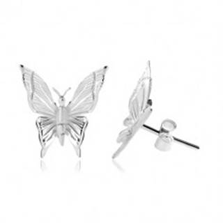 Strieborné 925 náušnice, motýľ s gravírovanými zárezmi na krídlach