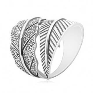 Strieborný 925 prsteň, protismerne zahnuté veľké listy, sivá patina - Veľkosť: 50 mm