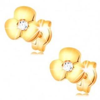 Zlaté náušnice 585 - lesklý kvietok s čírym zirkónom uprostred, puzetky