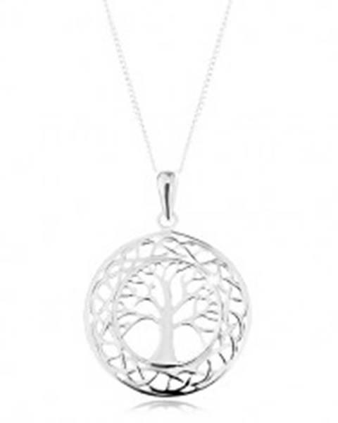 Náhrdelník zo striebra 925, prívesok na retiazke - vyrezávaný kruh, košatý strom