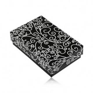 Darčeková krabička na set alebo náhrdelník - čierna s bielou potlačou ornamentov