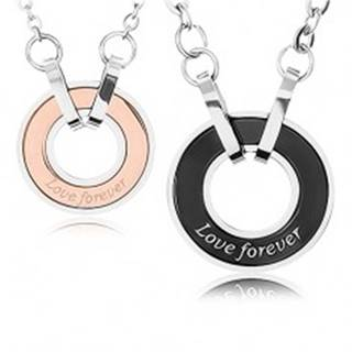 """Dva náhrdelníky z ocele 316L, obrys kruhu, nápis """"Love forever"""""""