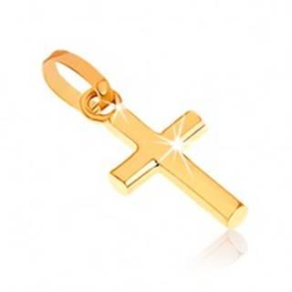 Lesklý prívesok zo žltého zlata 375, malý latinský kríž