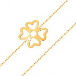 Náramok zo žltého zlata 585 - symbol šťastia - štvorlístok s výrezmi, lesklá retiazka