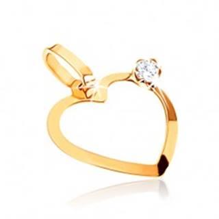 Prívesok zo žltého zlata 375, tenká kontúra symetrického srdca, zirkónik