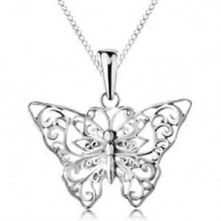 Strieborný 925 náhrdelník, motýlik s vyrezávanými ornamentami, retiazka