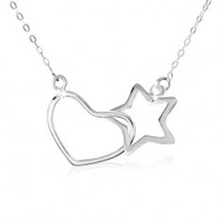 Strieborný náhrdelník 925, oválne očká retiazky, obrys hviezdy a srdca SP12.01