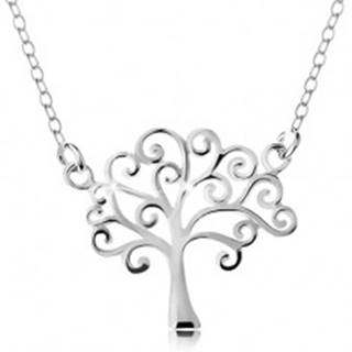 Strieborný náhrdelník 925, tenká retiazka a prívesok - lesklý strom života AC22.26