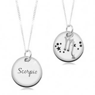 Strieborný náhrdelník 925, retiazka a okrúhly prívesok - znamenie ŠKORPIÓN