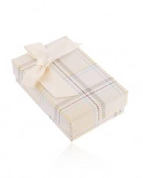 Krabička na náhrdelník alebo sadu prsteňa a náušníc, žltý károvaný vzor, mašľa