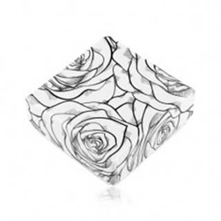 Krabička na náušnice alebo dva prstene, čierny vzor ruží na bielom podklade