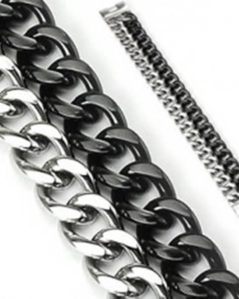 Mohutný náramok z ocele - dve reťaze, čierno-strieborné farebné prevedenie