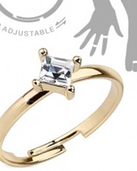 Nastaviteľný prsteň na ruku alebo nohu zlatej farby, štvorcový číry zirkón - Veľkosť: 50 mm