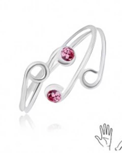 Strieborný prsteň 925 na ruku alebo nohu, rozvetvené ramená s ružovými zirkónmi