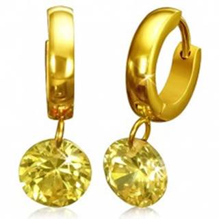 Kruhové náušnice zlatej farby, žltý brúsený kamienok