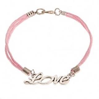 """Ružový šnúrkový náramok, prívesok striebornej farby - nápis """"Love"""""""