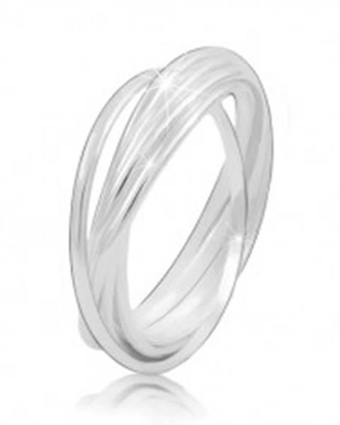 Strieborný prsteň 925 - prepojené tenké prstence, lesklý hladký povrch - Veľkosť: 49 mm