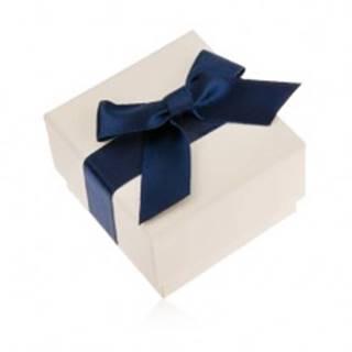 Krémová darčeková krabička na prsteň, prívesok alebo náušnice, modrá mašľa
