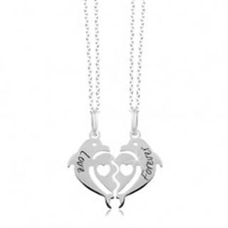 Náhrdelníky zo striebra 925 - rozpolené srdce z dvoch delfínov, Love Forever