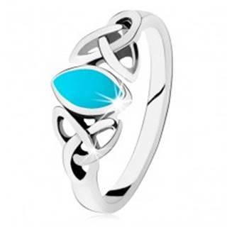 Strieborný 925 prsteň, tyrkysové zrnko, keltský symbol Triquetra - Veľkosť: 49 mm