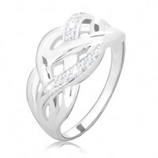 Strieborný prsteň 925, prepletené hladké a zirkónové línie, vysoký lesk - Veľkosť: 49 mm