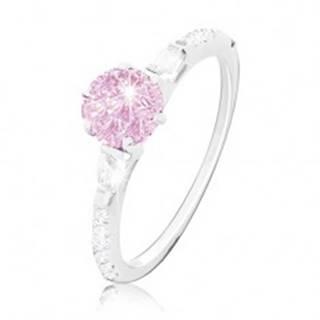 Zásnubný prsteň, striebro 925, okrúhly ružový zirkón, trblietavé ramená - Veľkosť: 49 mm