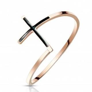 Oceľový prsteň 316L medenej farby - kríž s čiernou glazúrou, úzke ramená - Veľkosť: 51 mm