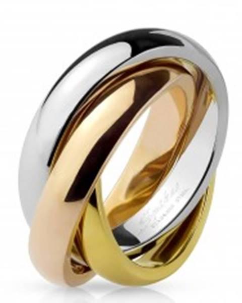 Trojitý prsteň z ocele - trojfarebná kombinácia - Veľkosť: 48 mm