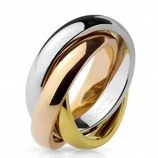 Trojitý prsteň z ocele - trojfarebná kombinácia F9.13 - Veľkosť: 48 mm