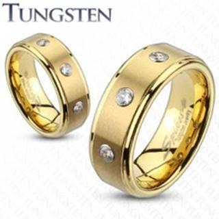 Tungstenový prsteň s brúseným pásom a troma zirkónmi - Veľkosť: 49 mm, Šírka: 8 mm