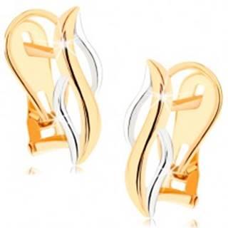 Zlaté náušnice 375 - lesklé zvislé vlnky zo žltého a bieleho zlata GG57.07