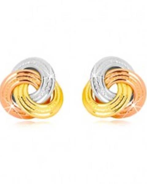 Náušnice z kombinovaného 14K zlata - trojfarebný uzol, širšie vrúbkované prstence