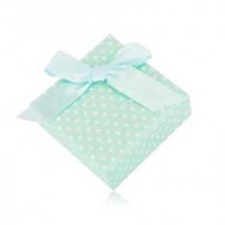 Bodkovaná krabička na náušnice alebo dva prstene - mätovo zelený odtieň, mašľa Y09.06