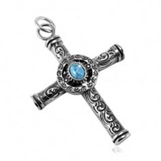 Mohutný prívesok z ocele 316L, patinovaný keltský kríž s modrým oválom