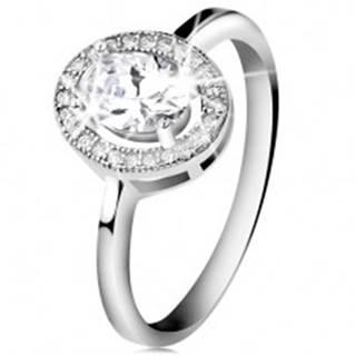 Strieborný prsteň 925, brúsený oválny zirkón, číry ligotavý lem - Veľkosť: 47 mm