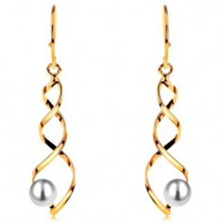 Visiace zlaté náušnice 585 - lesklá špirála s bielou guľatou perlou, háčiky