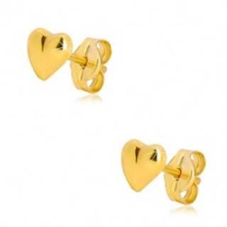 Náušnice v žltom 9K zlate - lesklé asymetrické srdiečko, puzetové zapínanie